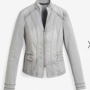 WHBM White House Black Market Gray Denim Jacket